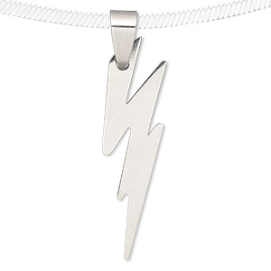 pendant, stainless steel, 38x12mm matte and shiny lightning bolt. sold individually.