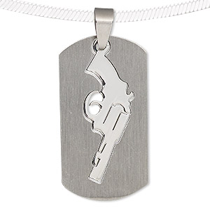 pendant, stainless steel, 40x21mm matte and shiny rounded rectangle with cutout pistol. sold individually.