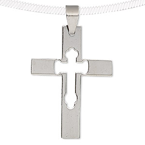 pendant, stainless steel, 40x29mm cross with cutout cross. sold individually.