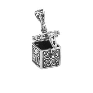 pendant, sterling silver, 13x12mm rectangle square prayer box. sold individually.