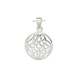 pendant, sterling silver, 15mm flat round with celtic knot design. sold individually.