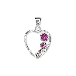 pendant, sterling silver and crystal, clear / light rose / rose / fuchsia, 17x16mm open heart. sold individually.