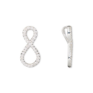 pendant, sterling silver and cubic zirconia, clear, 20x9mm infinity with hidden bail. sold individually.