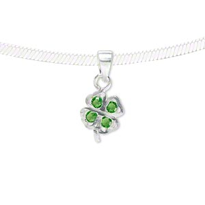 pendant, sterling silver and cubic zirconia, emerald green, 11x9mm single-sided 4-leaf clover. sold individually.