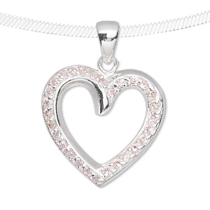 pendant, sterling silver and cubic zirconia, pink, 25x25mm single-sided open heart. sold individually.