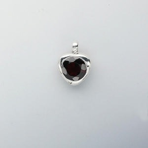 pendant, sterling silver and garnet (natural), 18x14mm heart, 12mm faceted round. sold individually.