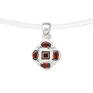 pendant, sterling silver and garnet (natural), 5x3mm faceted ovals, 4mm faceted square, 14x14mm flower. sold individually.