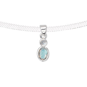 pendant, sterling silver and labradorite (natural), 3mm faceted round, 6x5mm faceted oval, 19x6mm. sold individually.