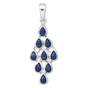 pendant, sterling silver and lapis lazuli (natural), 38x19mm diamond, 8x6mm teardrop. sold individually.