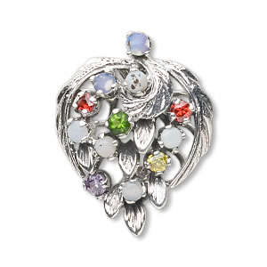 pendant, sterling silver and multi-gem (synthetic), 27x20mm. sold individually.