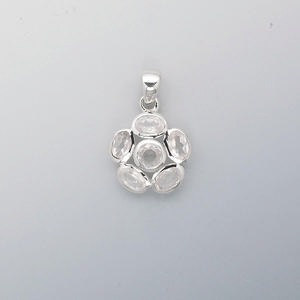 pendant, sterling silver and rose quartz (natural), 24x16mm flower, 6mm faceted round, 7x5mm faceted oval. sold individually.