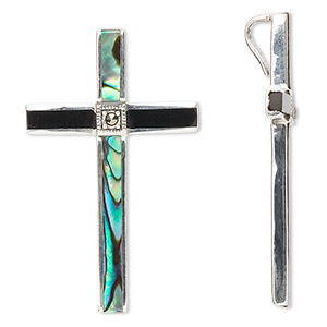 pendant, sterling silver with marcasite / paua shell (natural) / black onyx (dyed), 39x24mm cross. sold individually.