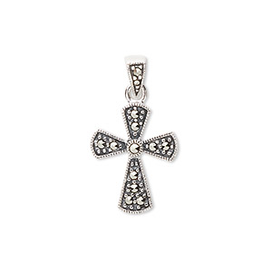 pendant, sterling silver with marcasite (natural), 25x14mm flared cross including decorative bail. sold individually.