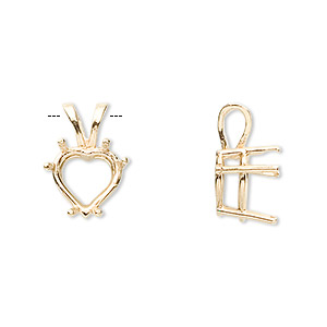 pendant, sure-set™, 14kt gold, 10x10mm with 6-prong heart setting. sold individually.