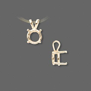 pendant, sure-set™, 14kt gold, 8mm with 4-prong round basket setting. sold individually.