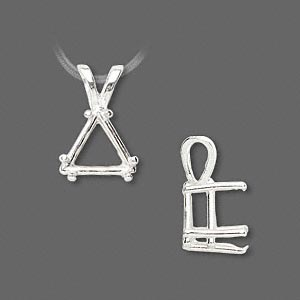 pendant, sure-set™, sterling silver, 12x12x12mm with 6-prong triangle basket setting. sold individually.