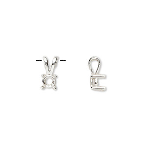 pendant, sure-set™, sterling silver, 5mm 4-prong round basket setting. sold individually.