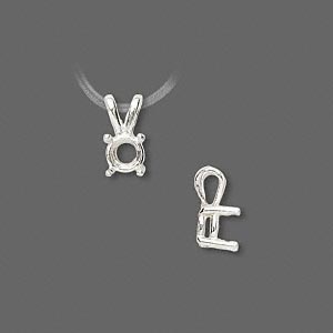 pendant, sure-set™, sterling silver, 6mm 4-prong round basket setting. sold individually.