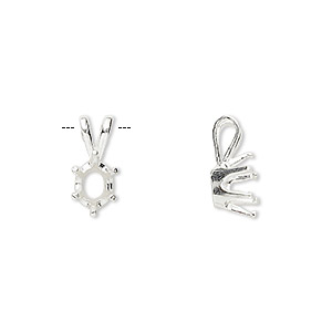 pendant, sure-set™, sterling silver, 7x5mm 6-prong oval setting. sold individually.
