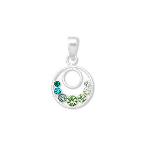pendant, swarovski crystals and sterling silver, green and teal, 22x13mm double ring. sold individually.