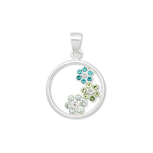 pendant, swarovski crystals and sterling silver, multicolored, 25x17mm round with (3) flowers. sold individually.