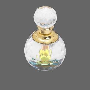 perfume bottle, glass with gold- or silver-finished brass, clear with ab top/bottom, 2-1/4x2-inches. sold individually.