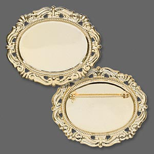 pin back, gold-plated brass, 55x46mm filigree oval with 40x30mm cabochon setting. sold individually.