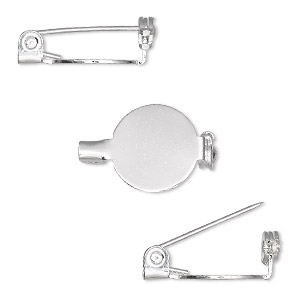 pin back, silver-plated steel, 1/2 inch round. sold per pkg of 100.