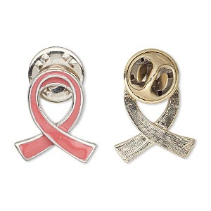 pin, imitation rhodium-plated pewter (zinc-based alloy) / enamel / epoxy, opaque pink, 20x17mm single-sided awareness ribbon. sold individually.