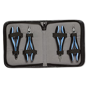 pliers, lindstrom rx series, round-nose / flat-nose / chain-nose / flush-cutter, steel / plastic / rubber, blue and black, 5-1/4 to 5-3/4 inches with case. sold per 4-piece set.