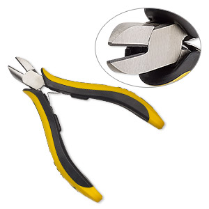 pliers, ohm, diagonal flush-cutter, carbon steel, black and yellow, 5 inches with ergonomic handles. sold individually.