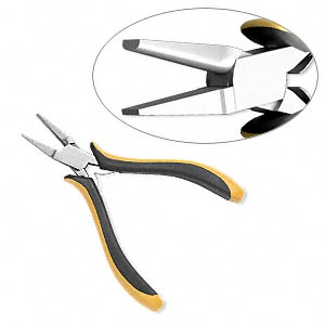 pliers, ohm, forming convex and flat, carbon steel and rubber, black and yellow, 5-1/5 inches. sold individually.
