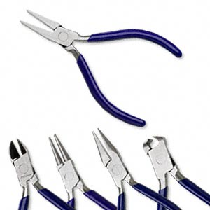 pliers set, steel and rubber, black or blue,  4-1/2 inches with roll-up case. sold per 5-piece set.
