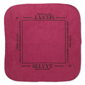 polishing cloth, selvyt, red, 10x10-inch square. sold individually.