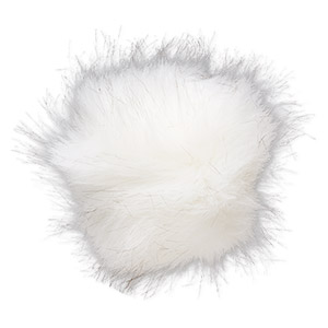 pom-pom, faux fur / nylon / polyester, white and black, 5-inch round with elastic loop. sold individually.