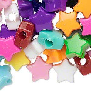 pony bead mix, acrylic, opaque multicolored, 13x13mm star with 3.5mm hole. sold per pkg of 100.