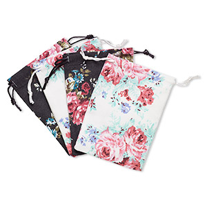 pouch, cotton and satin, black / white / multicolored, 4-3/4 x 3-3/4 inch rectangle with leaf and rose pattern with drawstring. sold per pkg of 4.