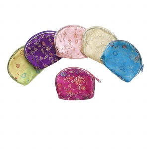 pouch mix, rayon / nylon / pvc plastic, mixed colors, 4 x 3-1/2 inches with zipper. sold per pkg of 6.