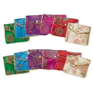 pouch mix, rayon, mixed colors, 3-1/4 x 3-1/2 inch brocade. sold per pkg of 12.