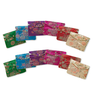 pouch mix, rayon, mixed colors, 4-1/4 x 6-1/2 inch brocade. sold per pkg of 12.