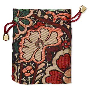 pouch, nylon and plastic, multicolored, 4-3/4 x 3-3/4 inches with brocade flower design, drawstring closure. sold individually.