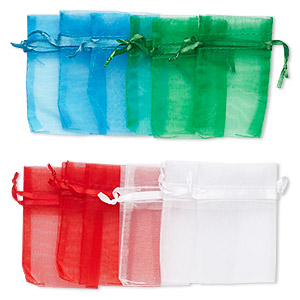 pouch, organza, assorted colors, 3x2 inches with drawstring closure. sold per pkg of 12.