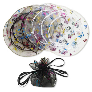 pouch, organza, black / white / multicolored, 10-1/2 inch round with butterfly pattern and drawstring. sold per pkg of 6.