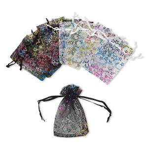 pouch, organza, black / white / multicolored, 4 x 2-1/2 inches with moon and star pattern with drawstring. sold per pkg of 12.