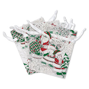 pouch, organza, multicolored with glitter, 4-3/4 x 3-1/2 inches with santa claus and christmas tree pattern with drawstring closure. sold per pkg of 4.