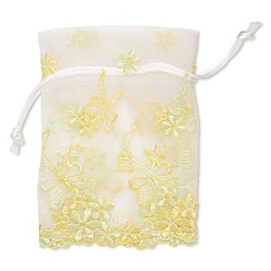 pouch, organza, white / yellow / lime green, 4-3/4 x 3-3/4 inches with butterfly and flower design, drawstring closure. sold individually.