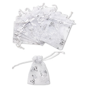 pouch, organza, white and silver, 4-1/2 x 3-1/4 inches with butterfly design and drawstring closure. sold per pkg of 12.