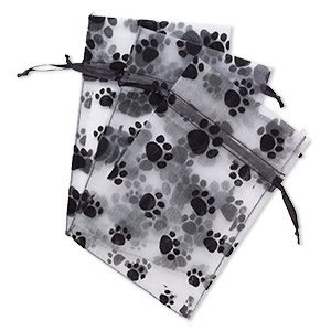 pouch, satin and flocked organza, grey and black, 6x4-inch rectangle with paw prints and drawstring closure. sold per pkg of 3.