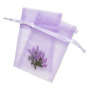 pouch, satin and organza, purple and green, 6x4-inch rectangle with embroidered lavender and drawstring closure. sold per pkg of 2.