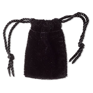pouch, velvet, black, 1-3/4 x2 inches with drawstring. sold per pkg of 12.